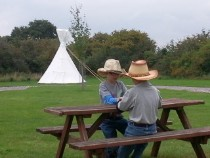 glamping boys play on tipi glamping holiday
