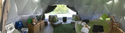 Panoramic interior of glamping geodome at Dorset Country Holidays