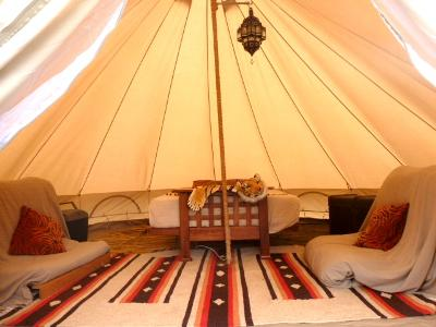 Glamping in Dorset - Inside the Explorer Bell tent at Dorset Country Holidays - glamping uk