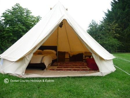 Bell tent glamping at Dorset Country Holidays
