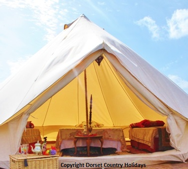 Glamping Bell tents at Dorset Country Holidays