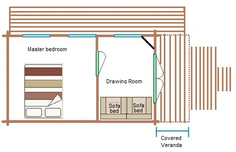 Floor plan of the glamping Cabin at Dorset Country Holidays
